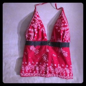 Charlotte Russe Red & white print halter top- S